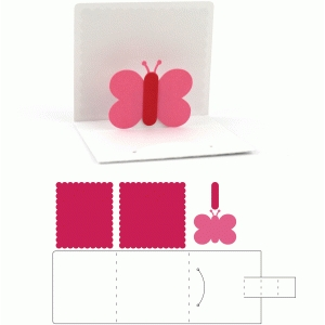 3x3 valentine pop up butterfly card
