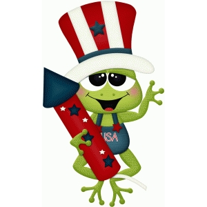 4th of july frog holding rocket