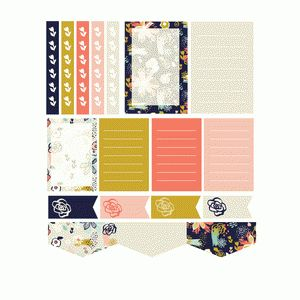 expressive floral planner stickers- navy