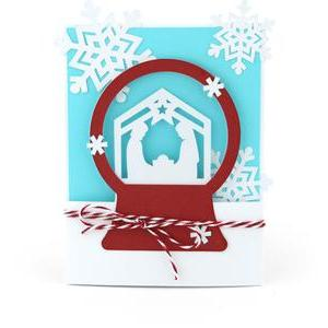 snow globe nativity card
