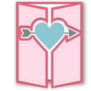 gatefold card - heart with arrow