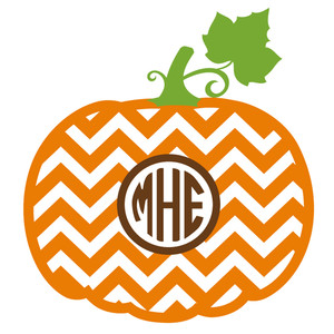 chevron pumpkin monogram frame
