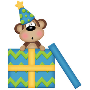 birthday monkey with gift