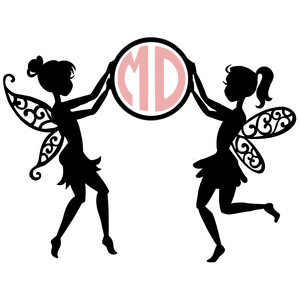 two fairies monogram frame