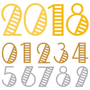 year 2018 deco numbers set