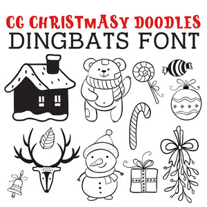 cg christmasy doodles dingbats