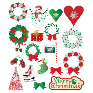snow and wreaths christmas planner stickers