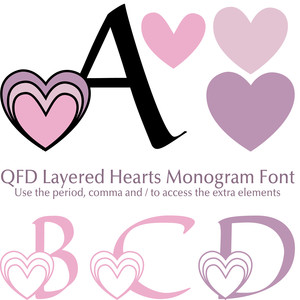 qfd layered hearts monogram font
