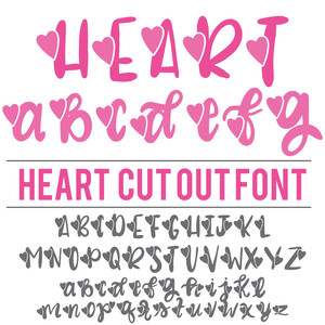 heart cut out font