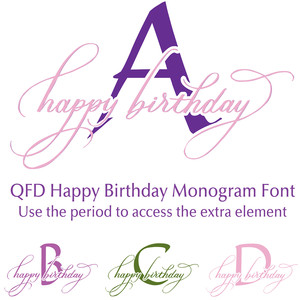 qfd happy birthday monogram font