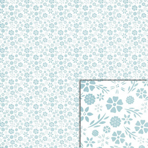 white and blue floral background paper