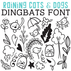 cg raining cats and birds dingbats