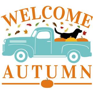 welcome autumn dog & truck