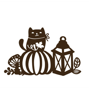 autumn scene with a cat, pumpkin and lantern