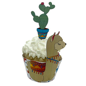 llama cupcake wrapper and cactus topper