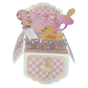 5x7 pink baby pop up card in a box