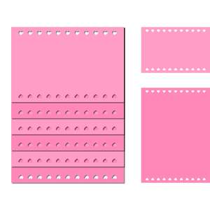 note card pages set - hearts