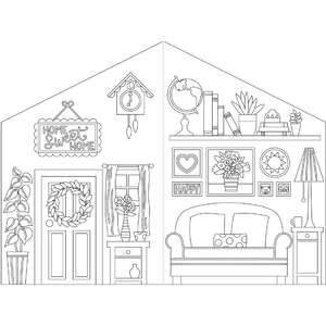 coloring book paper dollhouse living room