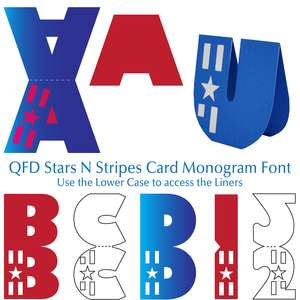 qfd stars n stripes card monogram font