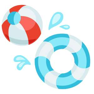 beach ball and inner tube