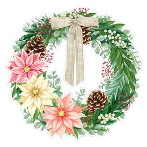 laurels with pink poinsettia christmas wreath