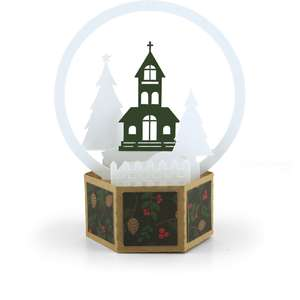 3d snow globe card church
