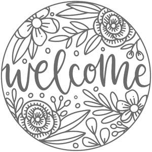 welcome floral round frame sign