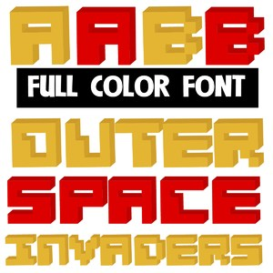 outer space invaders color font