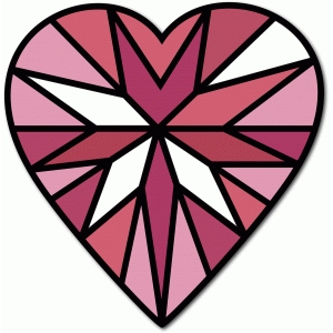 stained glass heart gem