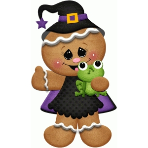 gingerbread witch holding frog print & cut