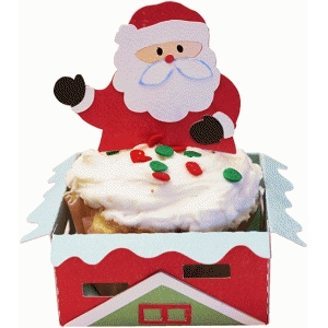 cupcake wrapper set: santa on roof