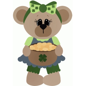 girl bear holding pot of gold