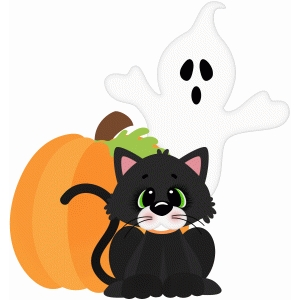 halloween cat and ghost