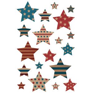 4th of july vintage star stickers