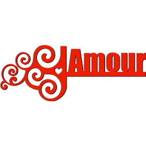 swirls word - amour