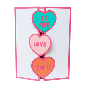 word heart trifold card