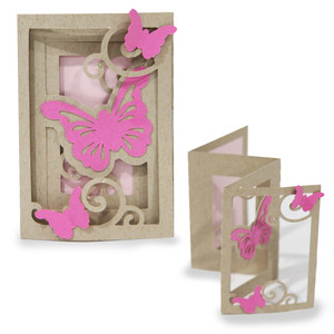 accordion shadow box card - butterfly