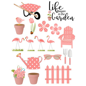 lawn flamingos in garden stickers