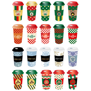 christmas coffee cups planner stickers