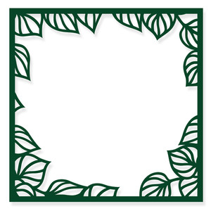 square frame with leaves