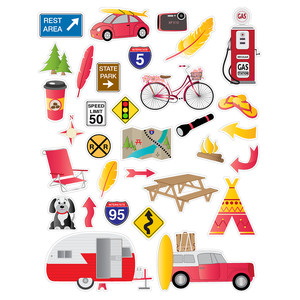 red road trip planner stickers