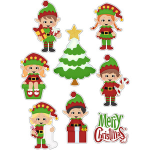 santas helpers elfs stickers