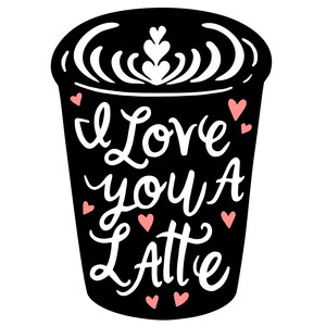 i love you a latte cup silhouette
