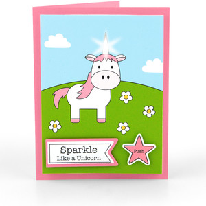 light up card unicorn