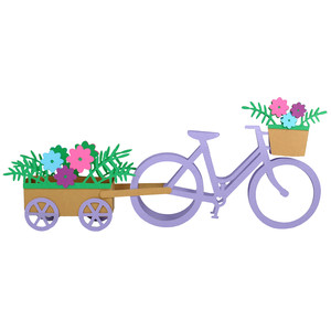 3d bicycle with flowers decoration