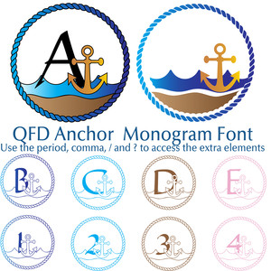 qfd anchor monogram summer beach font