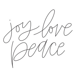 sketch handwritten joy love peace phrase