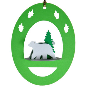 winter polar bear 3d oval hanging ornament