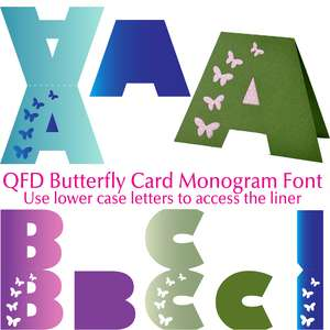 qfd butterfly card monogram font