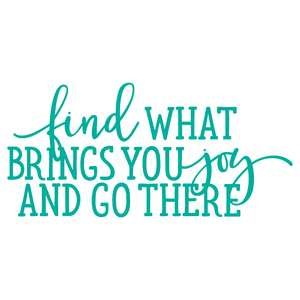find what brings you joy and go there